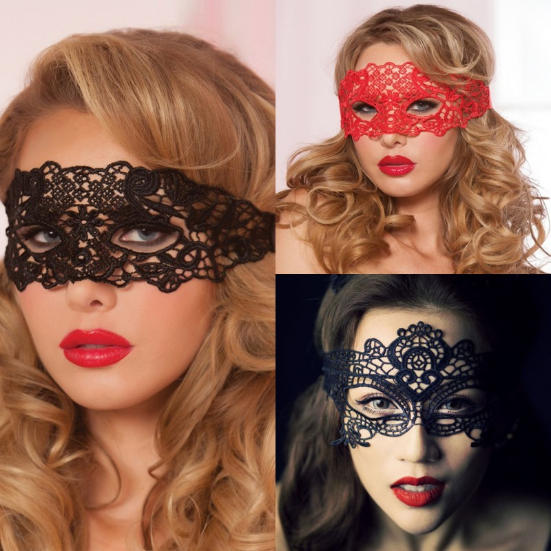 Sexy Babydoll Porn Lingerie Sexy Black/White/Red Hollow Lace Mask Erotic Costumes Women Sexy Lingerie Hot Cosplay Party Masks(China)