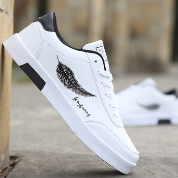 Men's Casual Skateboarding Shoes White Shoes Outdoors Leisure Sneakers Breathable Walking Shoes Flat Shoes Chaussure Homme недорого