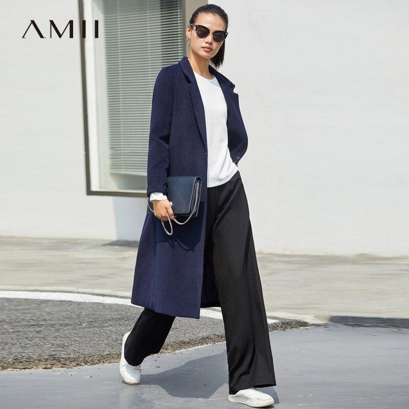 Amii Minimaliste Hepburn De Laine Manteau Femmes 2018 de Causalité Solide Seul Bouton Turn Down Collier Femelle Automne Longue Veste Bleu Marine