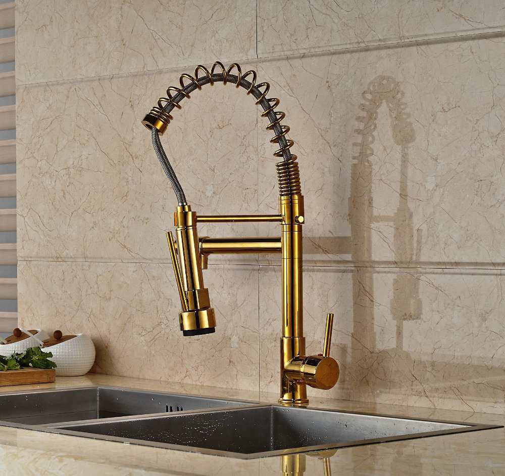 New design gold finish pull down sprayer kitchen faucet mixer faucet deck mount mixer tap in kitchen faucets from home improvement on aliexpress com