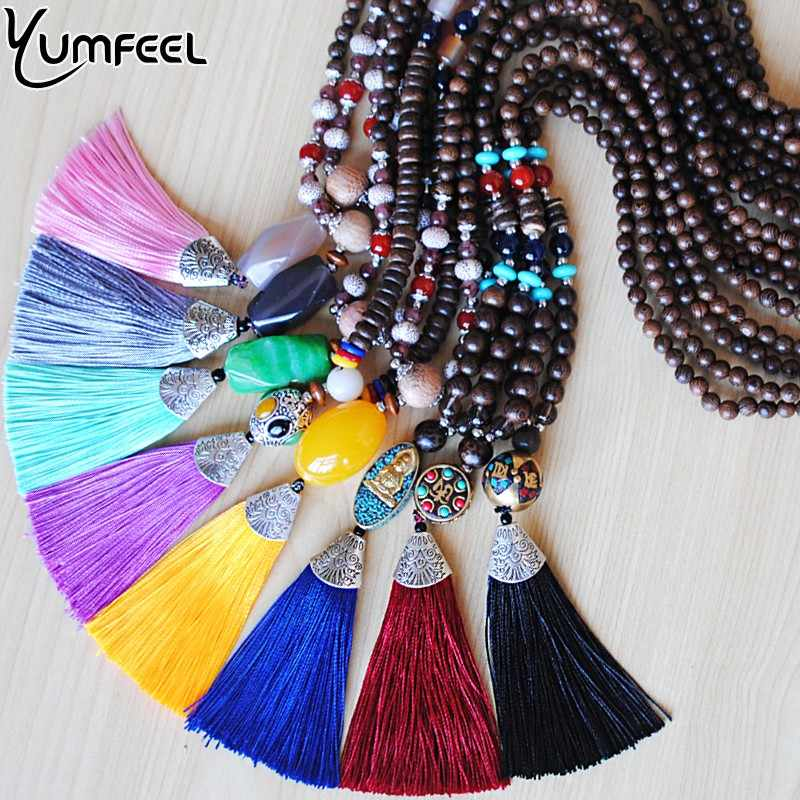 Yumfeel New Fashion Natural Stone Pendants Necklaces Handmade Wood Beads 12 Colors Long Tassel Necklace Jewelry Gifts Women