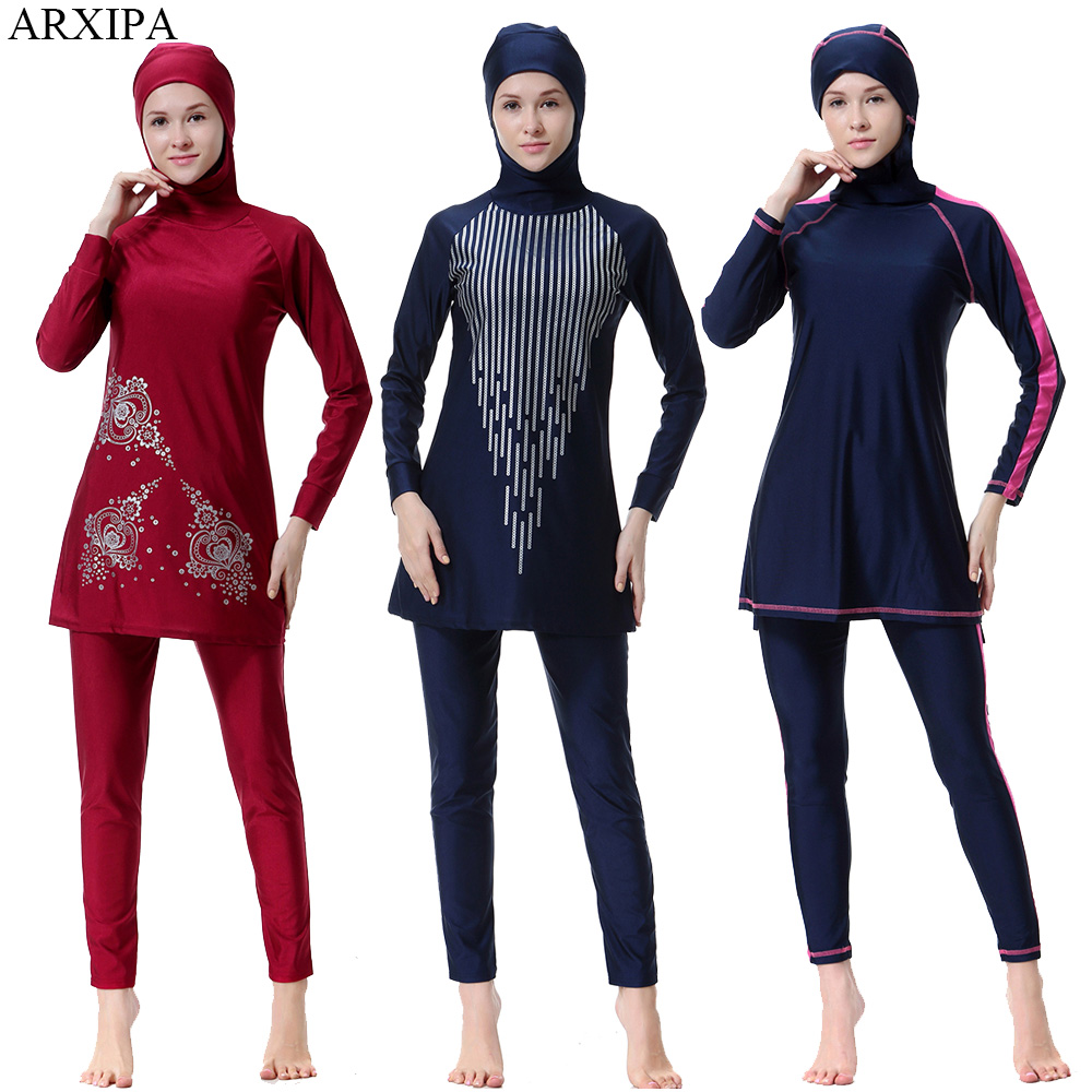 ARXIPA 2019 musulman maillot de bain islamique femmes modeste maillot de bain arabe burkinabé conservateur couverture complète Hijab Sport imprimer grande taille