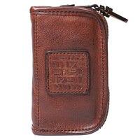 BJYL Handmade genuine leather key wallet Original multi function top layer leather car key bag Large capacity zipper coins purse