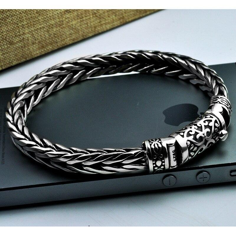 Offre spéciale 100% 925 Sterling Argent Dragon Grain Bracelet pour Hommes Conception De Tissage Hommes Bracelets En Argent Thaïlandais Quille Bracelet Bijoux Cadeau