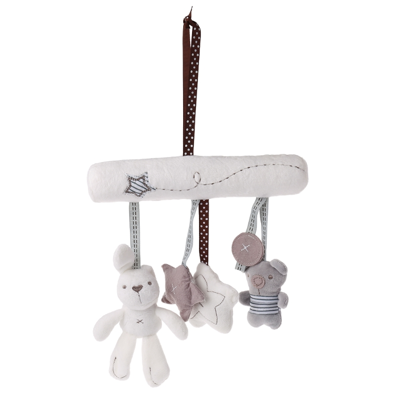 Plush Doll Hanging Bed Baby Stroller Car Toys Cute Rabbit Star Stuffed Cradles