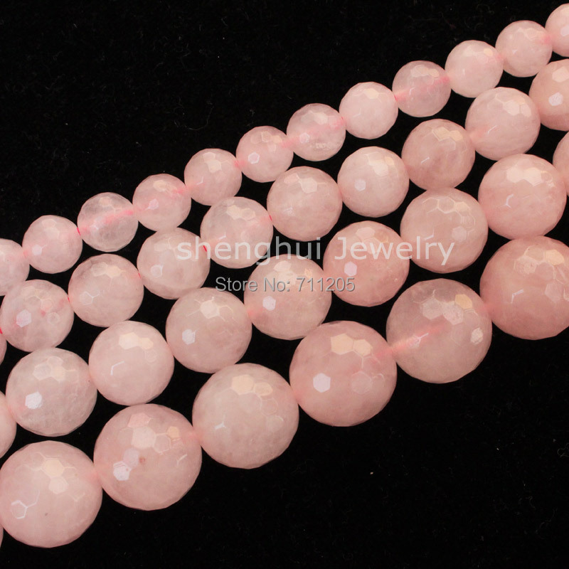 Faceted Natural Rose Quart Round Beads15/38cm,For DIY Jewelry making ,provide mixed whol ...