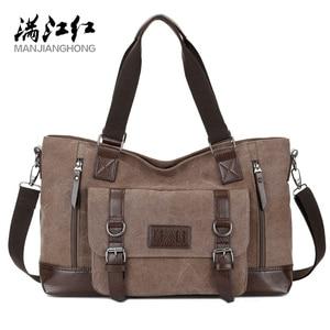 Image 1 - حقيبة قماش للرجال من مانجيهونغ حقيبة مربعة للأعمال ذات سعة كبيرة حقيبة ساعي البريد للكتف غير رسمية