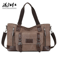MANJIANGHONG Men's Canvas Bag Cross Section Business Square Bag Large Capacity Casual Shoulder Messenger Bag