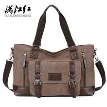 MANJIANGHONG Mens Canvas Bag Cross Section Business Square Bag Large Capacity Casual Shoulder Messenger Bag