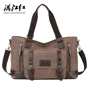 MANJIANGHONG Men's Canvas Bag Cross-Section Business Square Large-Capacity Casual Shoulder Messenger - discount item  49% OFF Travel Bags
