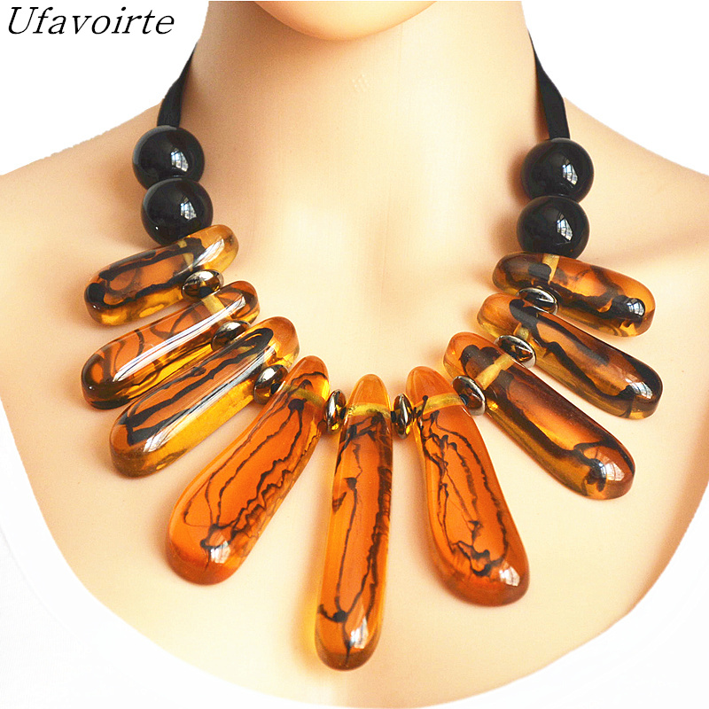 Ufavoirte Exaggeration Choker Necklace Chain Handwoven Necklace Big Rope Chain Resin Necklace Fashion Jewelry Women Necklace