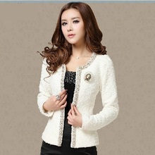 2015 New Women Autumn-Winter coat short design Elegant Beaded Diamond slim Long sleeve Plus size Small Outerwear jacket 661B