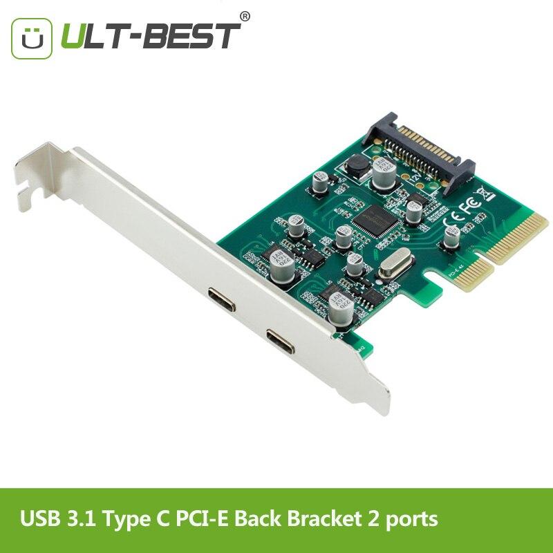 ULT-Meilleur 2 ports USB 3.1 Type-c PCI Express Contrôleur Ajouter Sur Carte Support pci-e 4x à USB-C Adaptateur Super Vitesse 10gbps