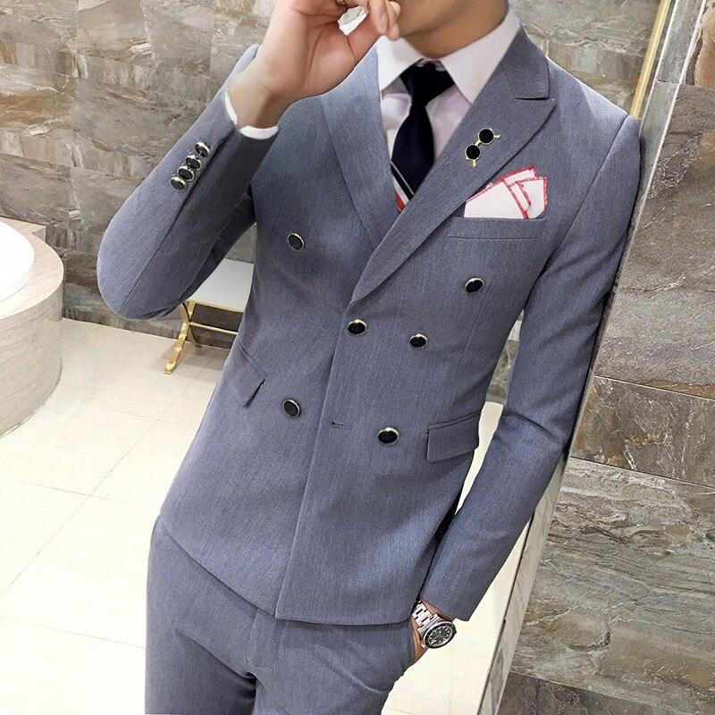 Negro gris naranja rojo azul real amarillo traje hombres doble Breasted Slim Fit hombres boda trajes 3 piezas Smoking Homme mariage Q529-in Trajes from Ropa de hombre    2