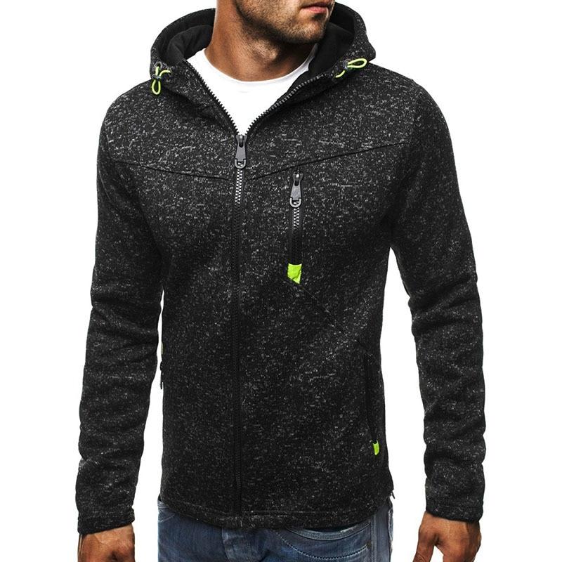 Casual Men's Hooded jacket 2019 Spring autumn mens slim Fleece Hoodie coat male Solid color zipper Warm Sweatshirt Cardigan Tops