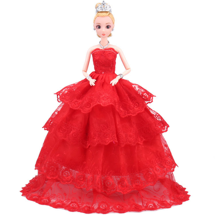 NK One Pcs Handmade Princess Wedding Dress Noble Party Gown For Barbie Doll Fashion Design Outfit Best Gift For Girl Doll 039A