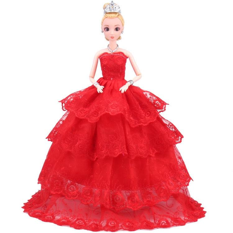 eb173c357 Nk حزب ثوب واحد قطعة اليدوية الأميرة فستان الزفاف النبيلة ل الأزياء تصميم  الزي أفضل هدية ل فتاة دمية دمية باربي 039A