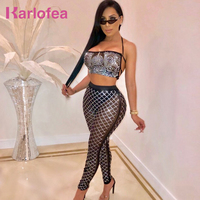Karlofea Sexy Sheer Mesh Rhinestone Embellished Women Suit Shiny Diamonds 2 Piece Set Hater Backless Club Party Crop Top Pants