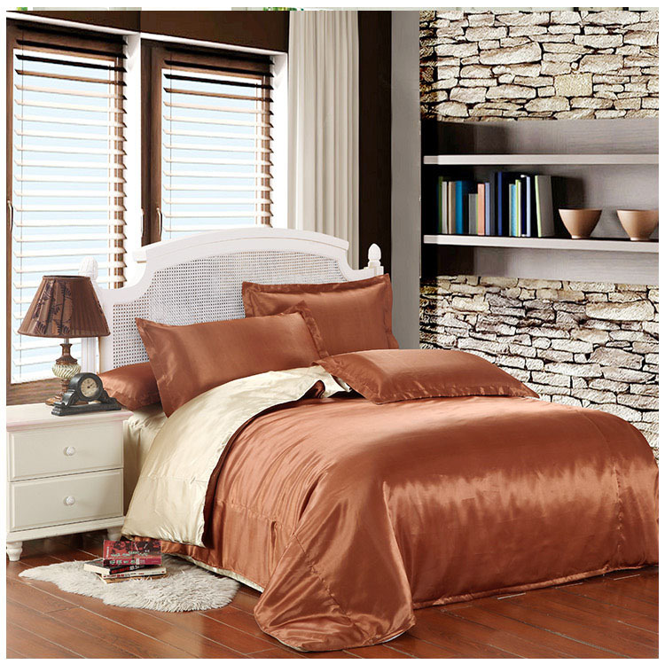 Coffee beige 2 color silk bedding set beding silk bed sheet pillow cases  silk comforter cover. Popular Silk Comforter Cover Buy Cheap Silk Comforter Cover lots