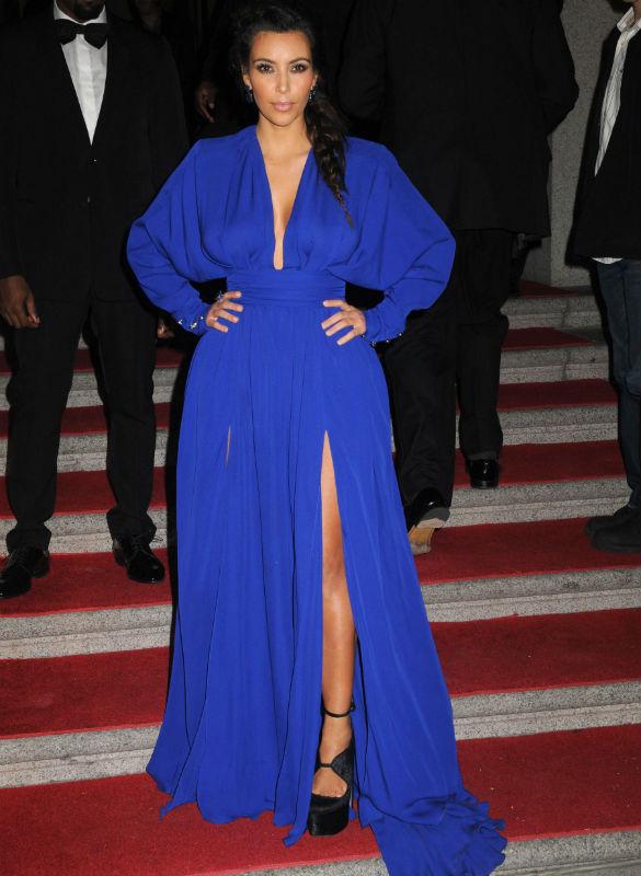 04dc14a488 2013 Kim Kardashian Royal blue dress Sexy Deep V Neck Long Sleeve Front  Slit Floor Length Chiffon Celebrity Dresses Evening Gown-in  Celebrity-Inspired ...