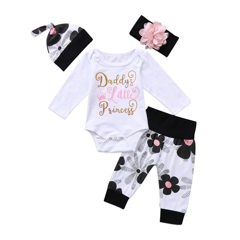 0 to 24M Newborn Kids Baby Girls Clothes Hot sell Floral Long Sleeve Romper +Pants+Headdress +Hat 4pcs Outfit Baby Clothing Set