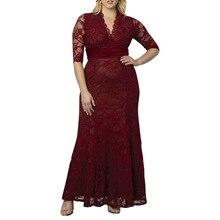 2019 New large size women lace dress temperament V-neck sexy long plus