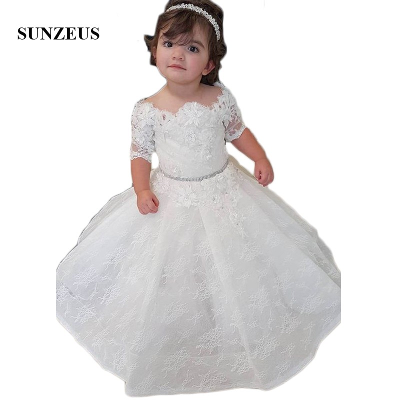 Short Sleeve Lace   Flower     Girls     Dresses   Princess Ball Gown Birthday Party   Dresses   with Appliques Beaded vestido de daminha SF34