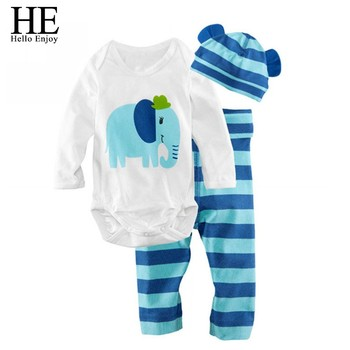 HE Hello Enjoy Baby rompers long sleeve cotton baby infant autumn Animal newborn baby clothes romper+hat+pants 3pcs clothing set 1