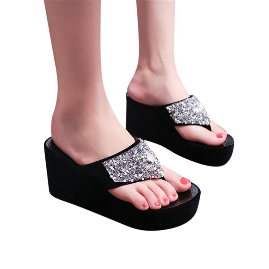 HTB12oggaoCF3KVjSZJnq6znHFXac Women Sandals Summer Shoes Women's Slippers Rhinestone Wedges Flip Flops Fashion Clip Toe Beach Shoe For Women M23#30