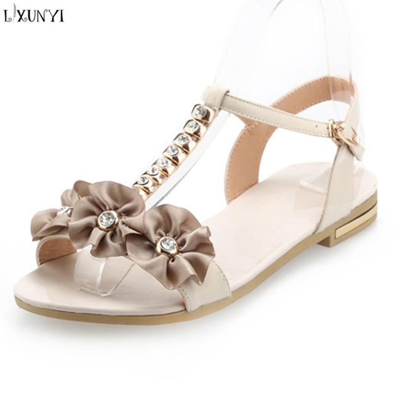 LXUNYI Buckles Sandals Flower Women Shoes Flat Metal Decoration Ladies Sandals PU Leather Female Shoes Open Toe Round Toe Sandle