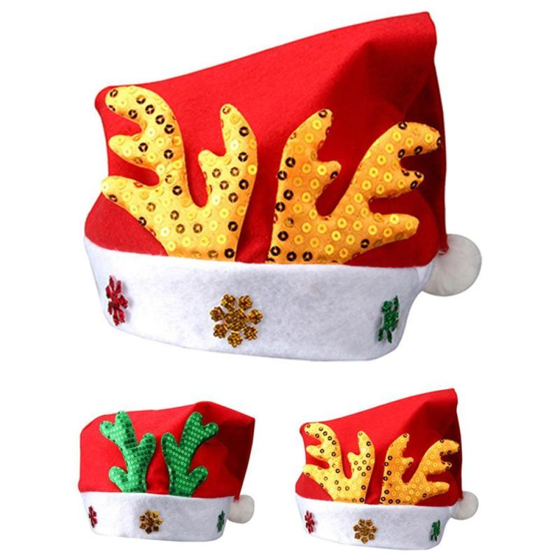 Christmas Hats Adult Children Party Antlers Santa Hat Caps Red And White Xmas Decoration Cap Accessories Gifts Y3