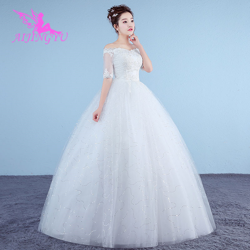 AIJINGYU 2018 Girl Free Shipping New Hot Selling Cheap Ball Gown Lace Up Back Formal Bride Dresses Wedding Dress WK227