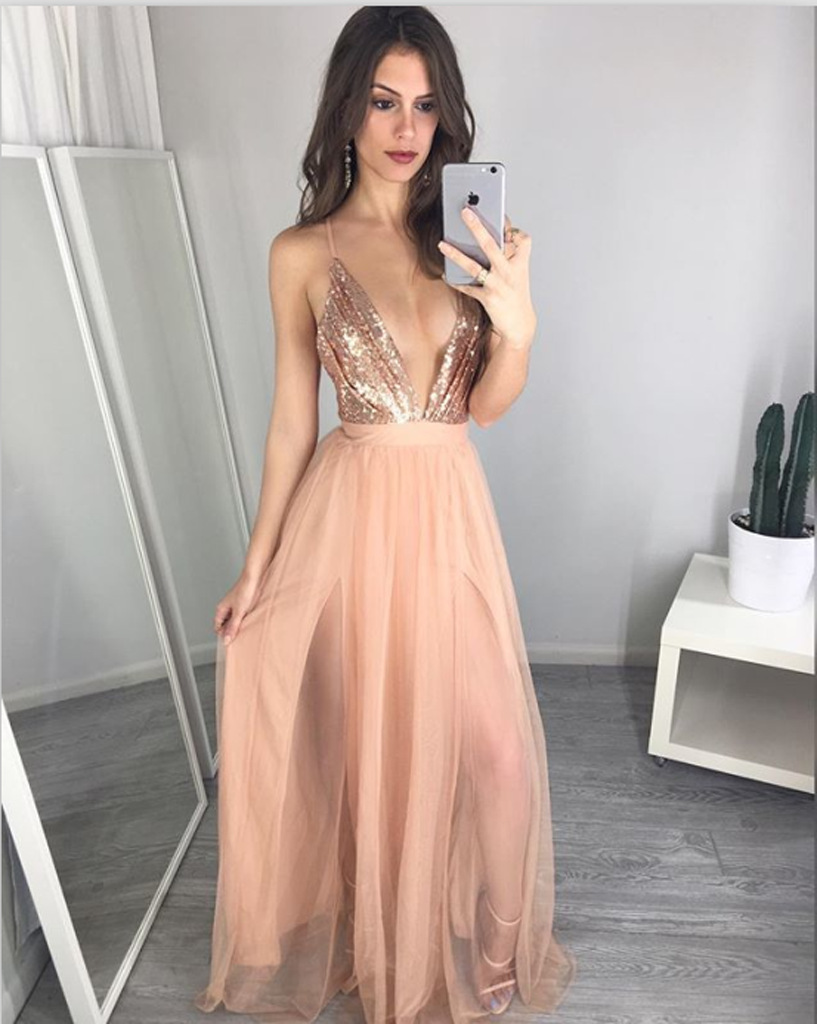 Online Shop Rose Gold Long Dress Sequined Top Party Dress Women ...