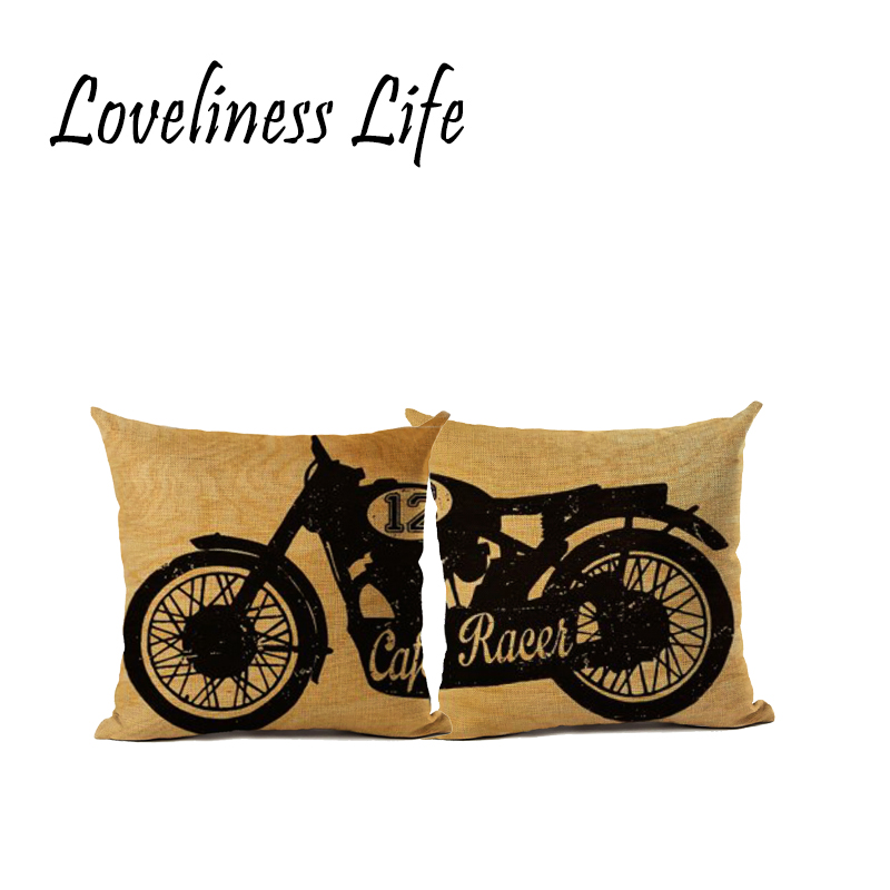 Vintage Simple Cotton Linen Pillowcase Cover Chair Seat Square Motorcycle Cushion Cover Home Decorative Almofadas