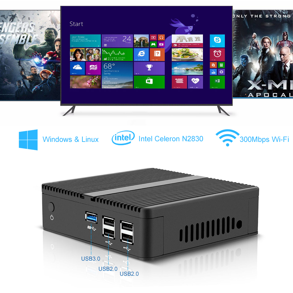 XCY Mini PC Intel Celeron J1900 Quad Cores Windows 10 Linux DDR3L RAM - Mini-PC - Bilde 4