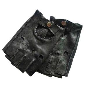 Image 2 - Alta qualidade preto homem luvas de couro genuíno antiderrapante luvas metade dedo couro de ovelha luvas sem dedos gants moto l01