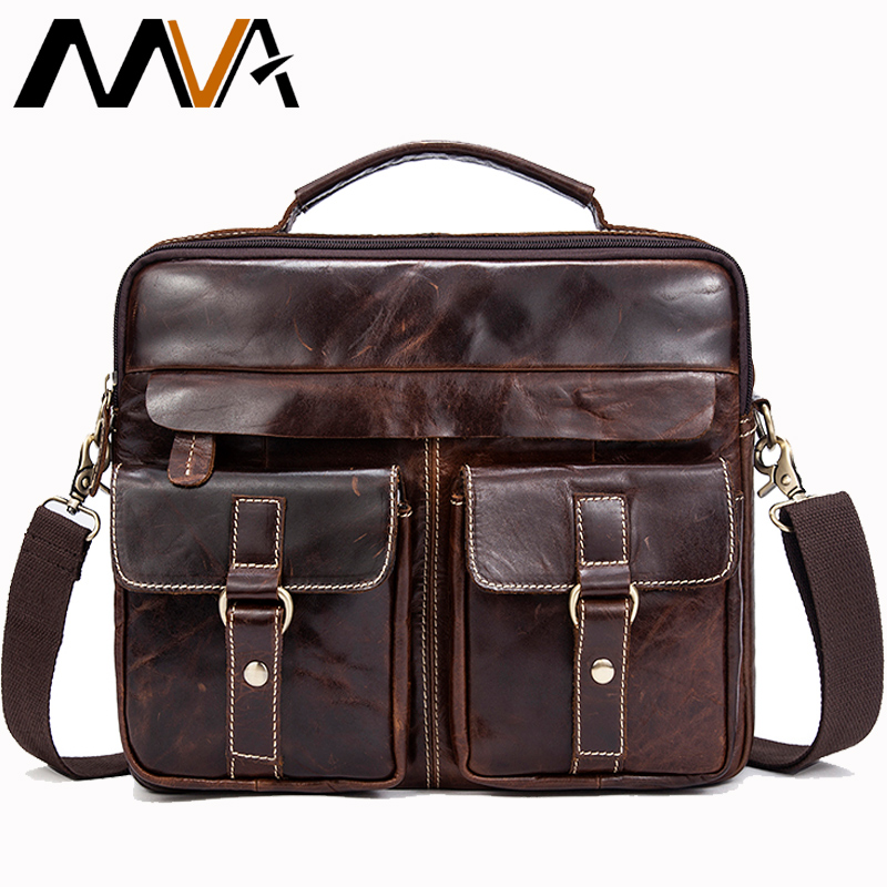 MVA Male Messenger Bag Men's Genuine Leather Briefcase man bags Work Business Casual travel Bag for Documents Messenger Male 801