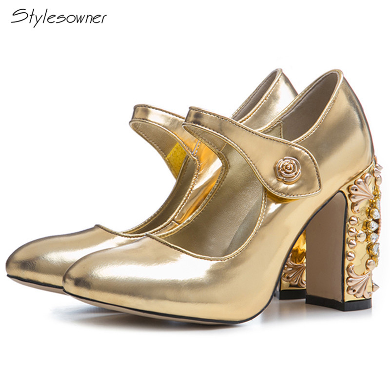 Stylesowner 2018 New Royal Crystal Rhinestone Shallow Mary Janes Pumps Bling High Heels Genuine Leather Big Size Women Shoes new spring fashion brand genuine leather sweet classic high heels women pumps shallow thick heel mary janes lady causal shoes