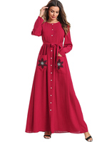 M 4XL Women Muslim Dress O Neck Long Sleeve Islamic Dress Red Hijab Clothes Robe femme musulmane with Button