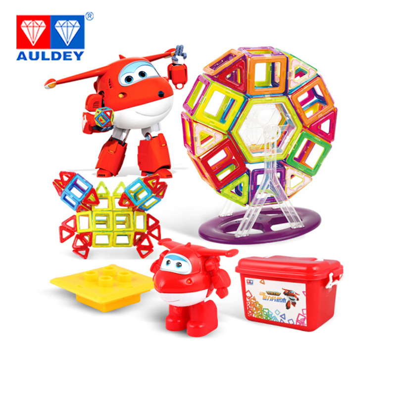 AULDEY Super Wings 134pcs Magnetic Blocks Jett High Quality Learning & Education Building & Construction Toy Spatial Mathematics spell insert building blocks fire model plastic environmental protection construction science and education children s education