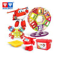 AULDEY Super Wings 134pcs Magnetic Blocks Jett High Quality Learning & Education Building & Construction Toy Spatial Mathematics