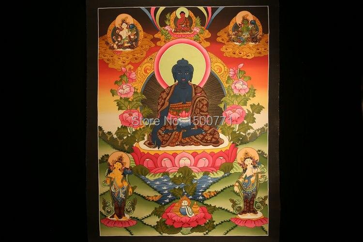 Spot Tibetan lama hand-painted thangka Color temple city When the wheel medicine guru Buddha mandala coloured drawing 64 * 47