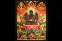 Spot Tibetan lama hand painted thangka Color temple city When the wheel medicine guru Buddha mandala coloured drawing 64 * 47