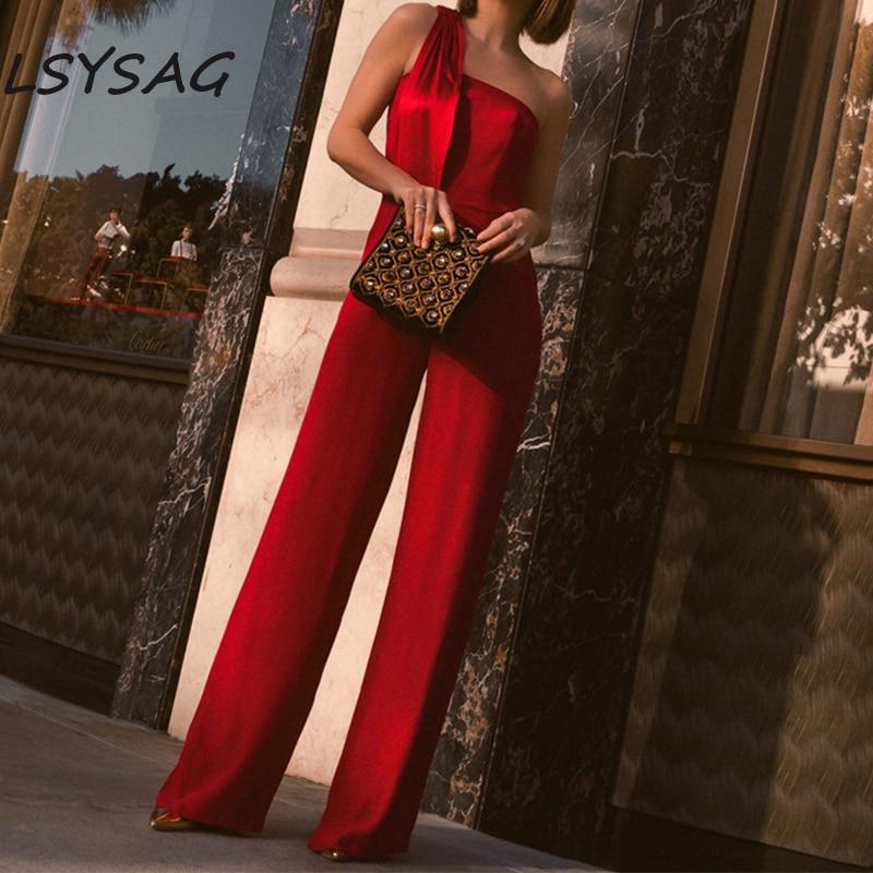 LSYSAG Women Jumpsuit Clothing Wide Leg Pants combinaison High Waist 2018 Fashion Body Sexy Slim Elegance Off Shoulder Red OL