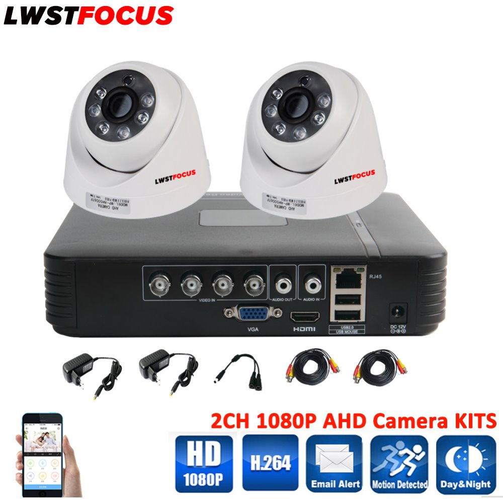 LWSTFOCUS Security Camera System 4CH 1080N AHDH DVR 2PCS 1080P Day Night Vision IR Dome Camera CCTV Camera Home Surveillance Kit