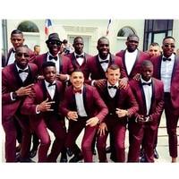 New Arrival Burgundy Wedding Men Suit Slim Fit 3 Piece Tuxedo Custom Suits Groomsman Prom Party Wear Blazer With Pants