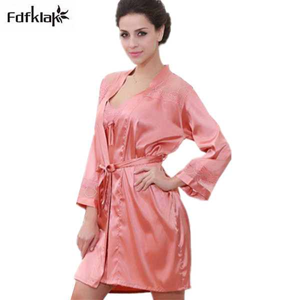 Fashion 2019 new women sleepwear sexy spring autumn silk   nightgown   female   sleepshirts   plus size night shirt bathrobes XXL Q804