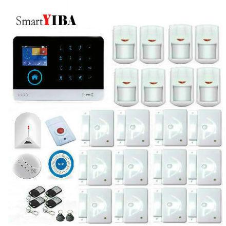 SmartYIBA wifi GSM Alarm System Voice Prompt Wireless Infrared Sensor Metal Remote Control Kit SIM SMS Alarm
