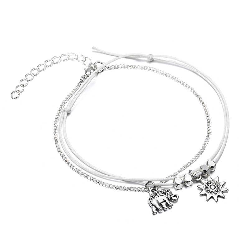 NS51 винтажные Многослойные женские браслеты для щиколотки слон Солнечный кулон талисманы Веревка Цепь Пляж Лето ноги ювелирный браслет на лодыжку