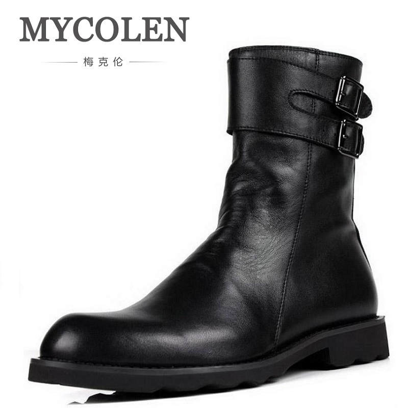 MYCOLEN Mens Tactical Military Boots Luxury Fashion Round Toe Zipper Combat Desert Boots Comfortable Leather Work Men Shoes